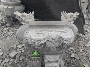 Lư hương đá nguyên khối tai rồng