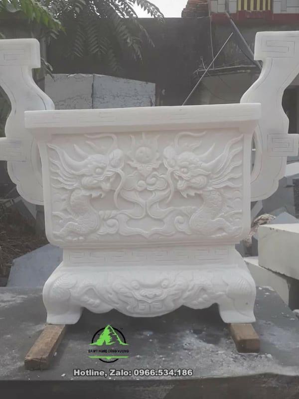 Lư hương đá trắng nguyên khối