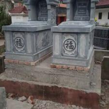 mộ đá trắng nguyên khối một mái